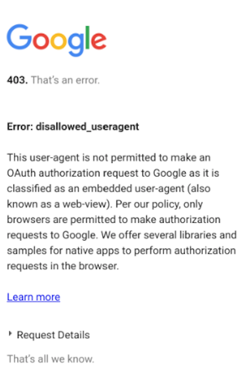 403 error when trying to connect to Google Fit \u2013 Human API Support